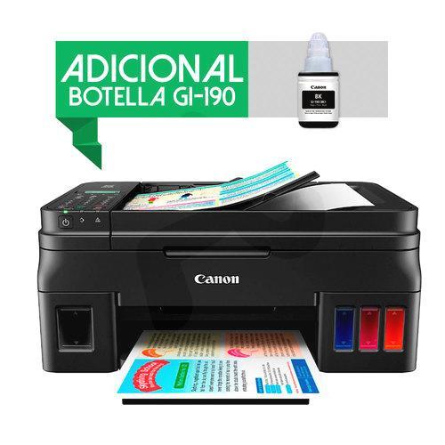 7089c3db057 Canon® Multifuncional Fotográfica Tinta Continua Pixma G4100 + Botella  GI-190 BK WiFi. Código de ...