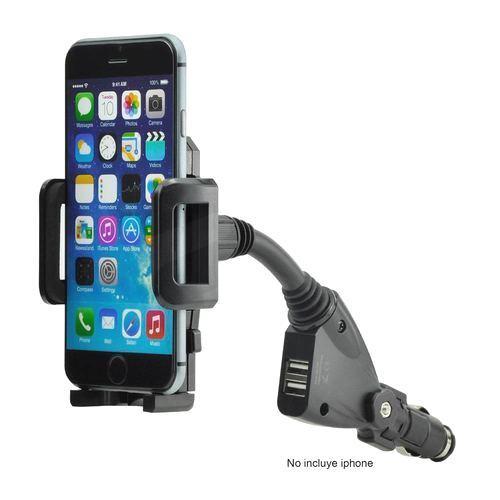 Soporte de Celular para Automóvil con 2 puertos USB Spektra ST-510 Negro