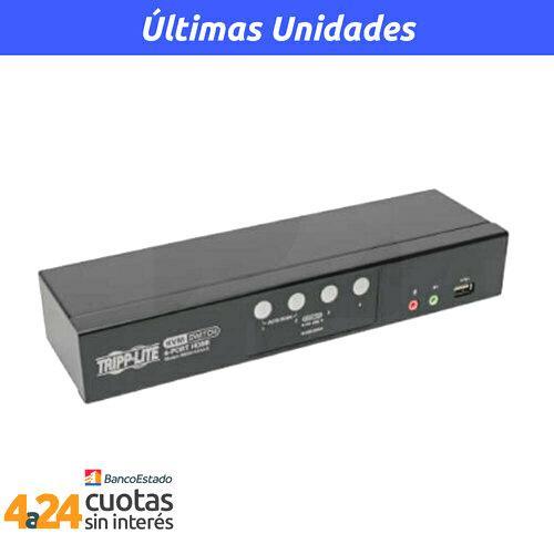 KVM HDMI / USB de 4 Puertos con audio y video y Compartido de Periféricos USB