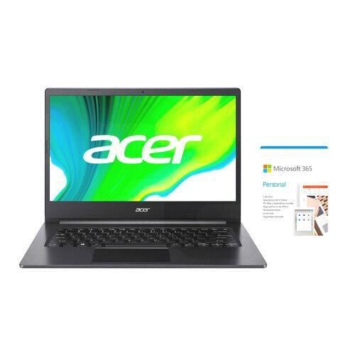 """Notebook Aspire 3 14"""" FHD Ryzen 5-3500U 8GB 256GB SSD Windows 10 SL A314-22-R4P7-1 Black + Microsoft 365 Personal"""
